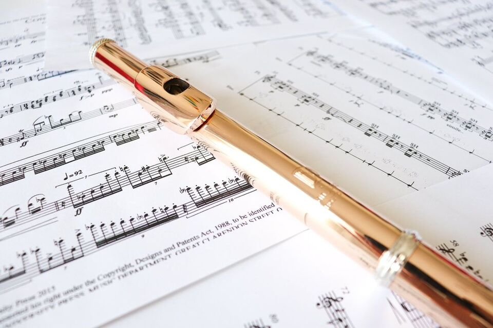 Picture of a flute on sheet music
